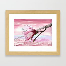Pink Magnolia Blossom Japanese-Style Painting Framed Art Print