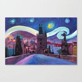 Starry Night in Prague - Van Gogh Inspirations on Charles Bridge Canvas Print