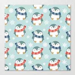 Winter penguins pattern Canvas Print