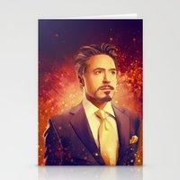 tony stark Stationery Cards featuring Tony Stark - Iron Man by KanaHyde