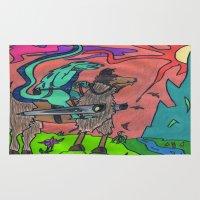 llama Area & Throw Rugs featuring Llama by Art Fitzgerald