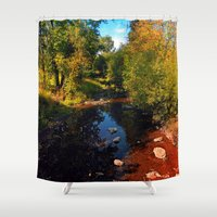trout Shower Curtains featuring River scene at the end of summer by Patrick Jobst