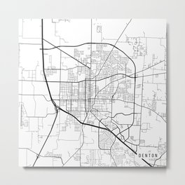 Denton Map, USA - Black and White Metal Print
