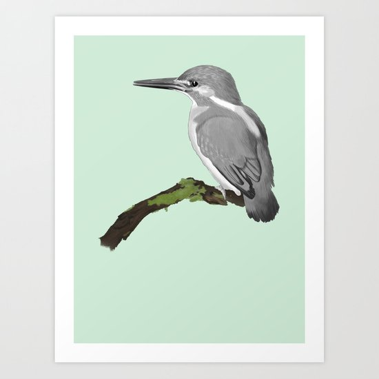 Kingfisher in gray Art Print