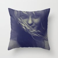 tye dye Throw Pillows featuring Dye by Imustbedead