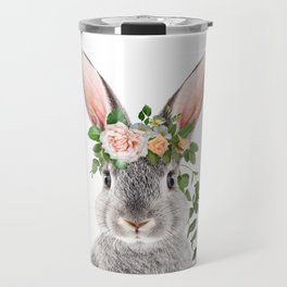 Baby Rabbit, Bunny With Flower Crown, Baby Animals Art Print By Synplus Travel Mug