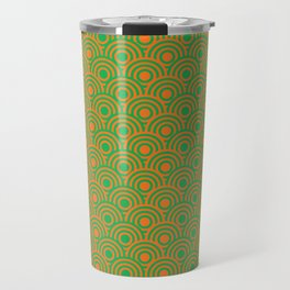 op art pattern retro circles in green and orange Travel Mug