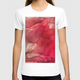 Red Pink Magenta Flow Abstract Ink Painting T-shirt