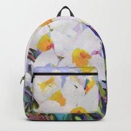 White Daffodil Meadow Backpack