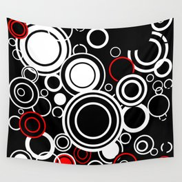 Retro Red And White Circles Wall Tapestry