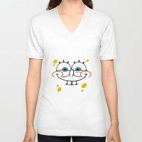 spongebob V-neck T-shirts featuring Spongebob Naughty Face by Cute Cute Cute