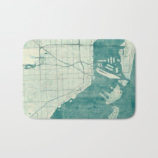 Miami Map Blue Vintage Bath Mat