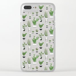 Cactus Love (in gray) Clear iPhone Case