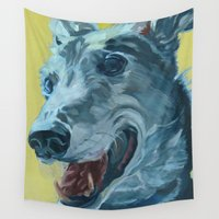greyhound Wall Tapestries featuring Dilly the Greyhound Portrait by Barking Dog Creations Studio