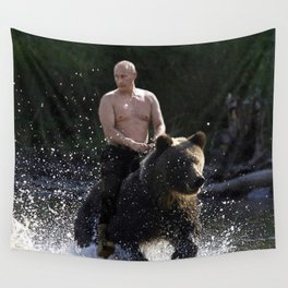 Vladimir Putin Riding a Bear Wall Tapestry