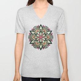 Tribal Geometric brown and green Mandala Unisex V-Neck