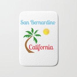 San Bernardino California Palm Tree and Sun Bath Mat