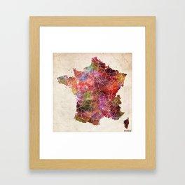 France map Framed Art Print