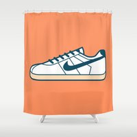 nike Shower Curtains featuring #55 Nike Cortez by Brownjames Prints