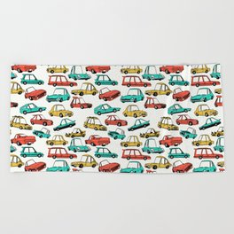 Retro Cars Pattern Beach Towel