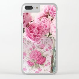 Peony Prints Peony Flowers Pink Peony Floral Decor Clear iPhone Case