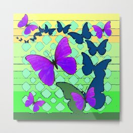 Modern Teal & Purple Butterfly Mint Green Pattern Art Metal Print