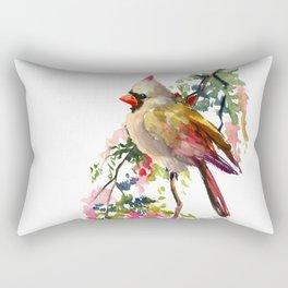 Cardinal Bird Earth Green Olive green Pink Rectangular Pillow