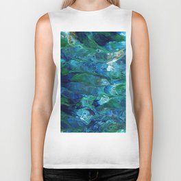 Underwater Flow Acrylic Abstract Painting Biker Tank