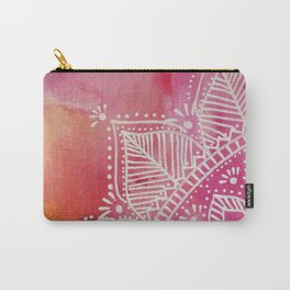 Mandala flower on watercolor background - pink Carry-All Pouch