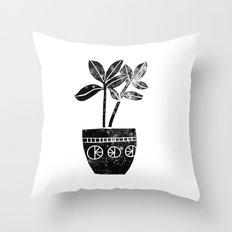 House Plants linocut black and white minimal modern lino print perfect decor piece Throw Pillow
