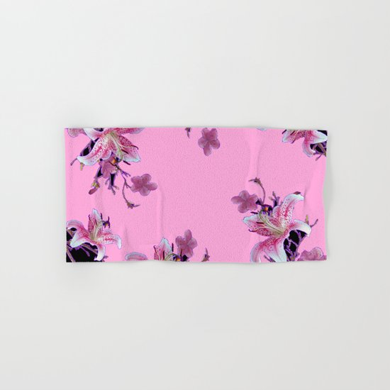 Spa Towels By Kassafina: ORIENTAL STYLE PINK-BLACK FLORALS Hand & Bath Towel By