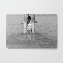 Baby Wading Sea Beach Metal Print