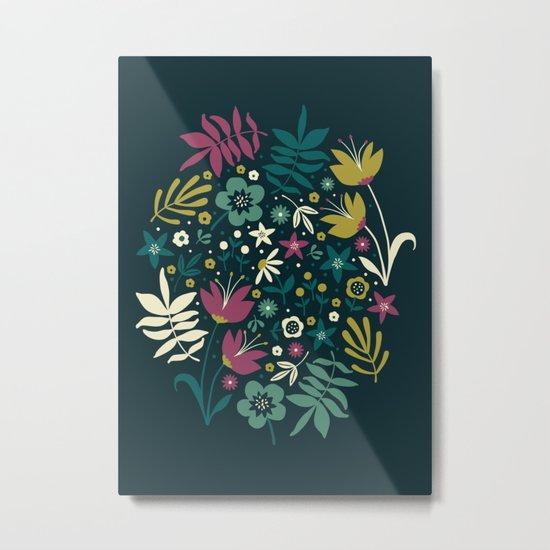 Midnight Florals (pop) Metal Print
