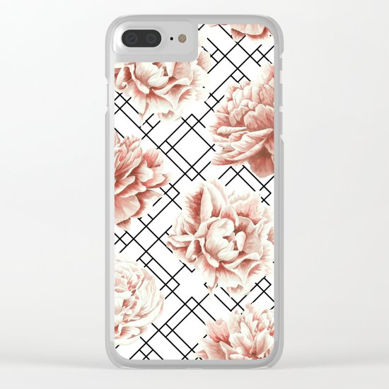 Rose Garden Vintage Rose Pink Cream White Mod Diamond Lattice Clear iPhone Case