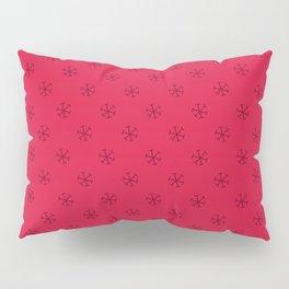 Burgundy Red on Crimson Red Snowflakes Pillow Sham