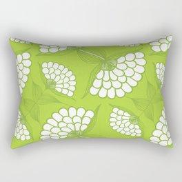 African Floral Motif on Green Rectangular Pillow