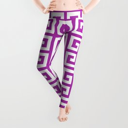 Greek Key (Purple & White Pattern) Leggings