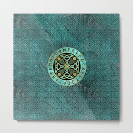 Decorative Celtic Cross  - and Runes alphabet Metal Print
