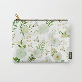 GREENY ROSE WATERCOLOR FLORAL Carry-All Pouch