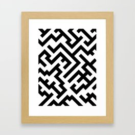 Black and White Diagonal Labyrinth Framed Art Print
