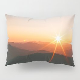 Yellow Orange Mountain Parallax Sunrise Landscape Pillow Sham