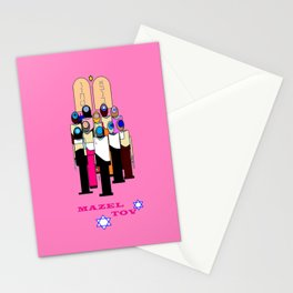 A Bat Mitzvah Design with a  Pink Background Stationery Cards
