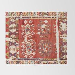 Hotamis  Antique Turkish Karapinar  Kilim Print Throw Blanket