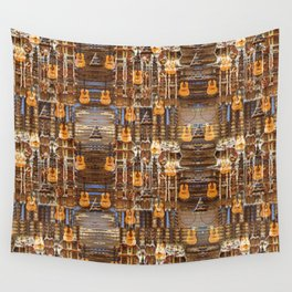 Grunge Abstract with Guitars and Metals Wall Tapestry