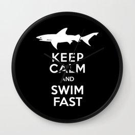 Keep Calm and Swim Fast Shark Wall Clock