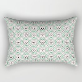 green design shapes ornate on a white background Rectangular Pillow