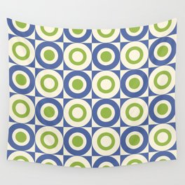 Mid Century Square and Circle Pattern 541 Blue and Green Wall Tapestry