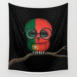 Baby Owl with Glasses and Portuguese Flag Wall Tapestry