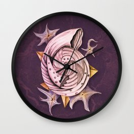 Dystopian Conch - Lavender Wall Clock