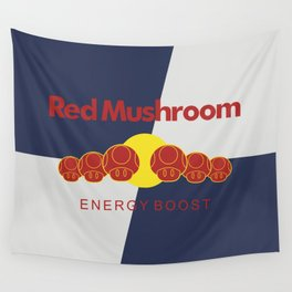 Red Mushroom Energy Boost Wall Tapestry